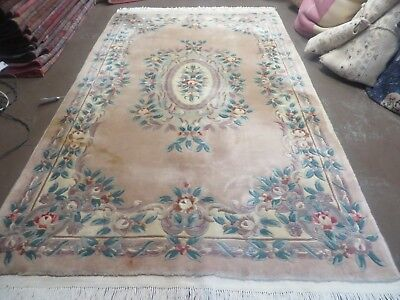 5' X 8' Hand Made Aubusson Chinese Rug Plush Carving Carpet 90 Line Nice Peach