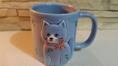 Vintage 1984 Otagiri Japan Blue Calico Cat Mug 3D Cat kitten