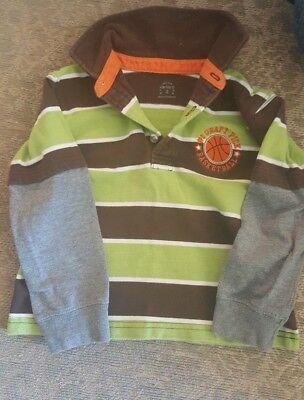 Carters Layered Look Collared Basketball Decal Polo Boys Toddler Shirt Size 4
