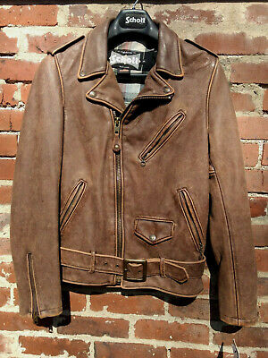 NWT Schott NYC 626Vn Vintage cowhide Fitted Motorcycle Jacket BRN Made in USA