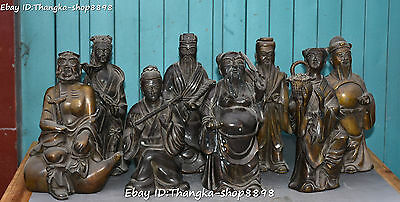 """9"""" Collection Chinese Bronze Myth Taoism Stand Eight Immortals God Statue Set"""