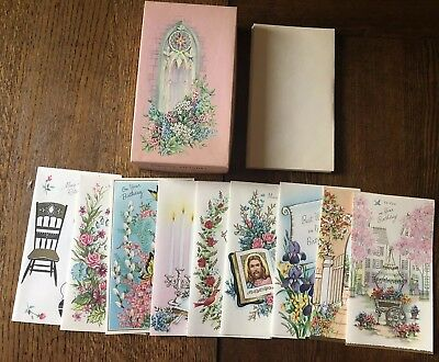 Vintage Retro Blessed Birthday Cards Box Set Religious Scripture Greeting New