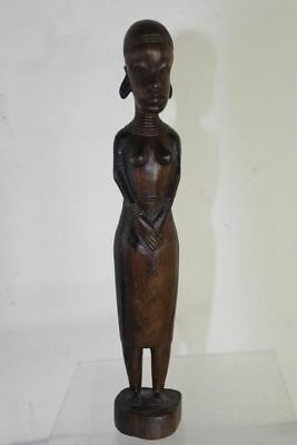 African Hand Carved Wooden Tribal Woman Female Fertility Statue Carving