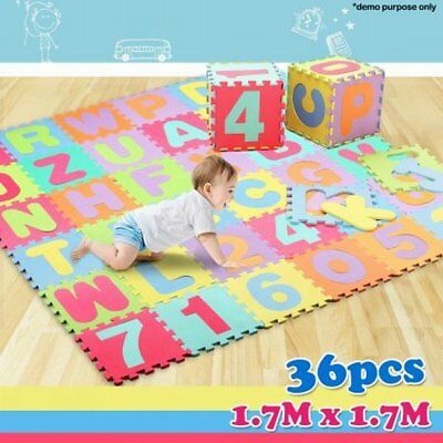 NEW Durable Kids Educational Alphabet & Numbers Floor Puzzle Play Mat, Non-Toxic