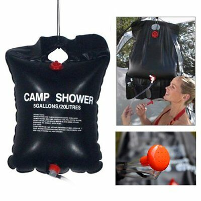 20L Foldable Solar Energy Heated Water Bag Camp PVC Shower Outdoor Travel Hiking