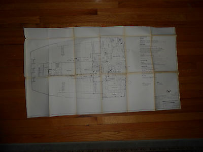 Vintage 1961 Architect's Drawing of Boat Deck on a Ship