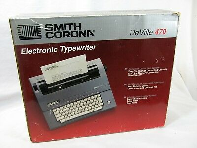 Smith Corona Electronic Typewriter DeVille 470 Portable with Cover New, Open Box