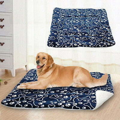 Warm Pet Mat Small Large Bone Print Cat Dog Puppy Fleece Soft Blanket Cushion 1X