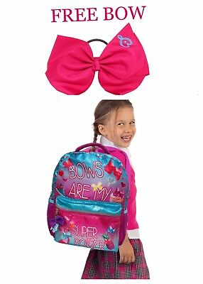 Pink JoJo Siwa 16 Super Power Kids Backpack Free Bow Hair Tie Safety Reflector