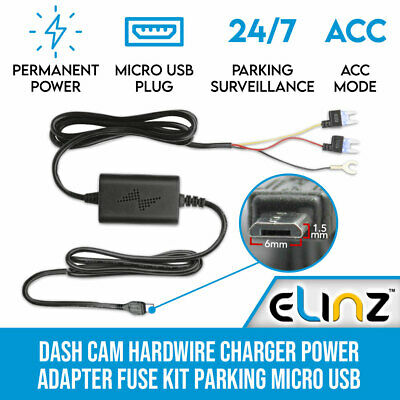 Dash Cam Hardwire Power Adapter Fuse Parking Elinz 1.5mm x 6mm Charger Input