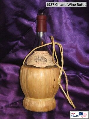 1987 Chianti / Villa Banfi Straw Basket-Wrapped Glass / Italian Wine Bottle