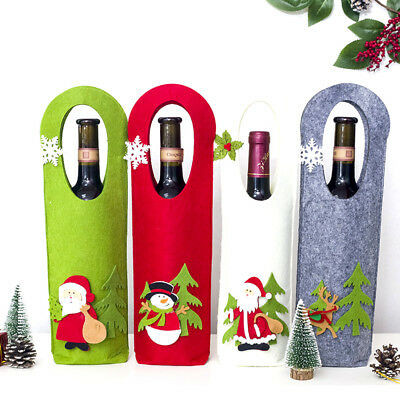 Portable Hand Christmas Wine Bottle Covers Xmas Wine Gift Bags Table Decor