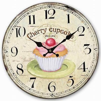 Retro Style Wall Clock Pink Cherry Cupcake Home Decorative Wood Board 34CM