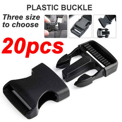 20 PC Plastic Quick Release Belt Buckle ylon Webbing Strap Clasp backpack clips