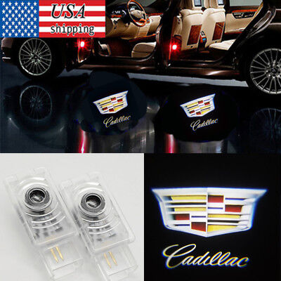 2x Ghost LED Door Step Courtesy Shadow Laser Light For Cadillac CT6 SRX ATS XT5