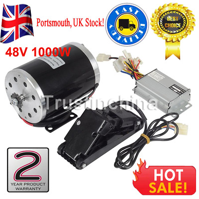 1000W 48V DC Electric Motor Kit w/ Base Speed Controller&Foot Pedal Throttle UK