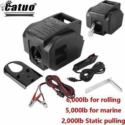 6000LBS Heavy Duty Electric Recovery Winch 12V Remote Control Trailer Truck