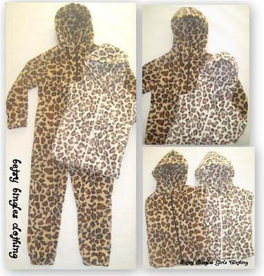 New Girls Boys hooded Leopard pyjamas all in one 7-8 9-10 11-12 13 christmas