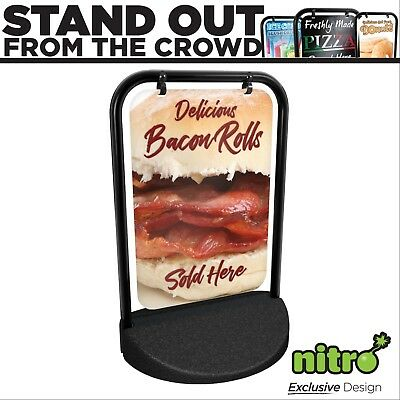 Bacon Rolls Swinging Pavement Sign Outdoor Display Shop Catering Trailer