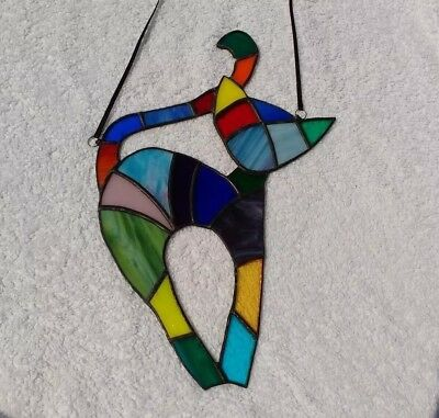 Suncatcher Stained Glass Multi-coloured Cat - Handmade by Faith Stained Glass