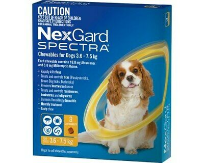 Nexgard Spectra Dogs Chewables Tick & Flea Treatment 3.6-7.5kg 3's (N5836)