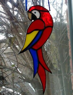Stained Glass Parrot Suncatcher Handmade by Faith Stained Glass