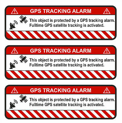 3x GPS Tracking Sticker Alarm Warning anti Theft Sticker Tracker Protected