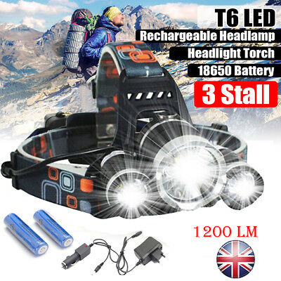 2000 LM Lumens 3 x XML CREE T6 LED Rechargeable Head Torch Headlamp Light Lamp