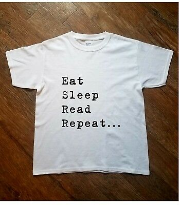 Kids Printed T Shirt Eat Sleep Read Repeat Summer Gift Present Boys Girls