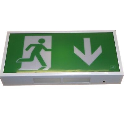 LED Emergency Exit Sign Light Box Escape Route 3hr Battery Backup Power Ansell