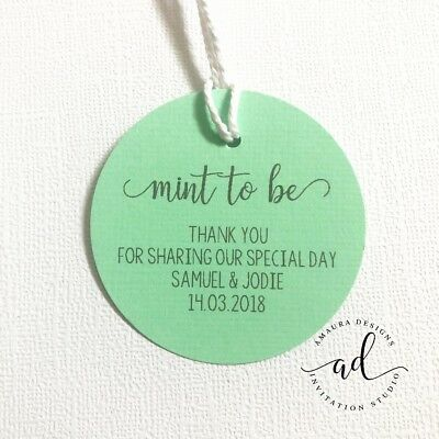24 Personalised THANK YOU Gift Tags Wedding Favour Swing Tag Mint To Be