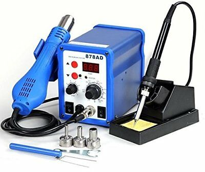 2 In1 Hot Air Rework Station Soldering Iron W/ 3 Nozzles LED Professional 878ad