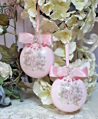 Shabby Chic Vintage Victorian  Elegance Christmas Ornaments Pearl Accents Pink