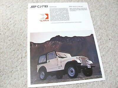 1983 Mexican Vam Jeep Cj-7 Sales Brochure