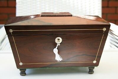 3 Compartment Victorian Rosewood Tea Caddy with mother of pearl and brass inlay