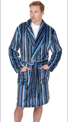 Pierre Roche Mens Supersoft Fleece Striped Dressing Gown Medium - SEE INFO