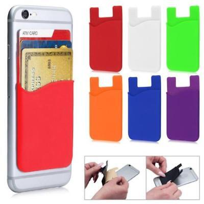 1PCS Silicone Credit Card Holder Cell Phone Wallet Pocket Sticker Adhesive Black