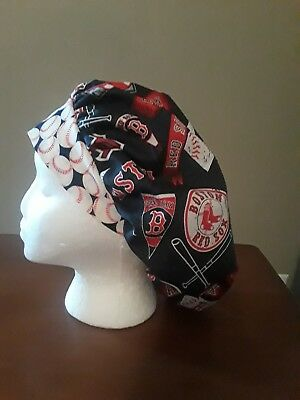 Boston Red Sox MLB Women's Bouffant Surgical Scrub Hat/Cap Handmade