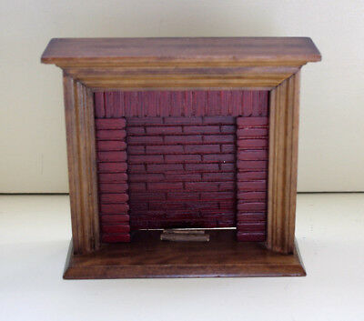Town Square DollHouse Walnut Wood Red Brick Fireplace & Logs 1:12