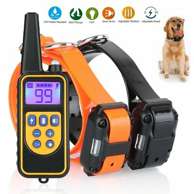 Dog Shock Training Collar Electronic Remote Control Waterproof 880 Yards 2 Dogs