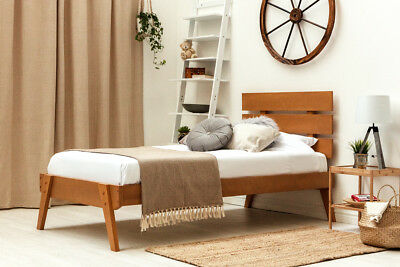 Solid Wooden Bed Frame Single Double Size Oak Finish Nordic Scandi Modern Style