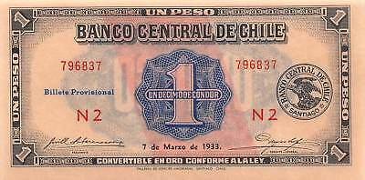 Chile 1  Peso  7.3.1933  P 88b  Series  N 2  Uncirculated Banknote  L19