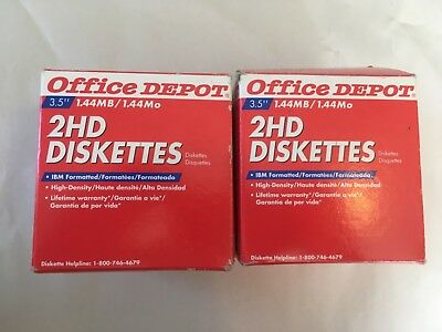 """Office Depot 50 2HD Floppy Diskettes 3.5"""" 1.44MB High Density 2 Boxes New"""