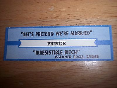 "1 Prince Let's Pretend We're Married Jukebox Title Strips CD 7"" 45RPM Records"