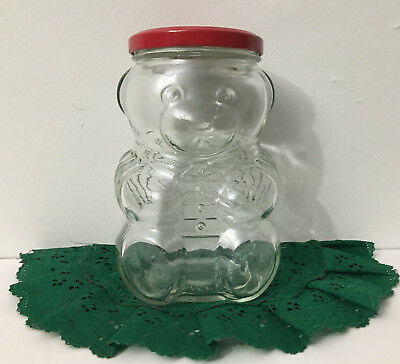 Vintage Kraft Glass Bear Jelly Jar with Shirt Advertising 1988