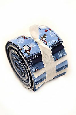 2.5 inch Snowmen & Snowflakes Jelly Roll 100% cotton fabric quilting 24 strips