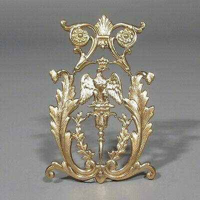 Antique French Gilded Metal Ornament Imperial Crown & Eagle, Napoleon III Empire