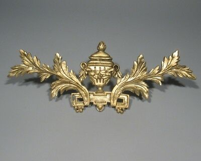 Antique French Gilded Bronze Furniture Decoration Neoclassic Urn Laurel Garlands