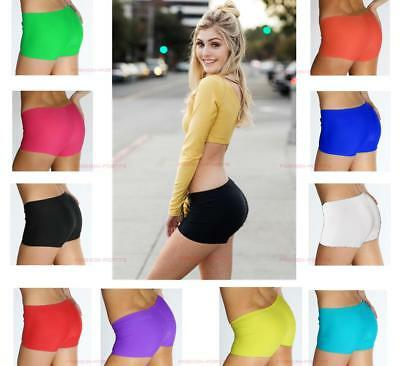 Ladies Girls Neon Lycra Shorts Hot Pants Dance Party Night Club Gym Attractive