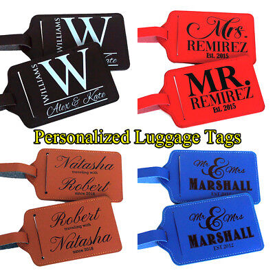 Pair (2) Personalized Luggage Tag Travel Accessories Custom Luggage Tags Gift b